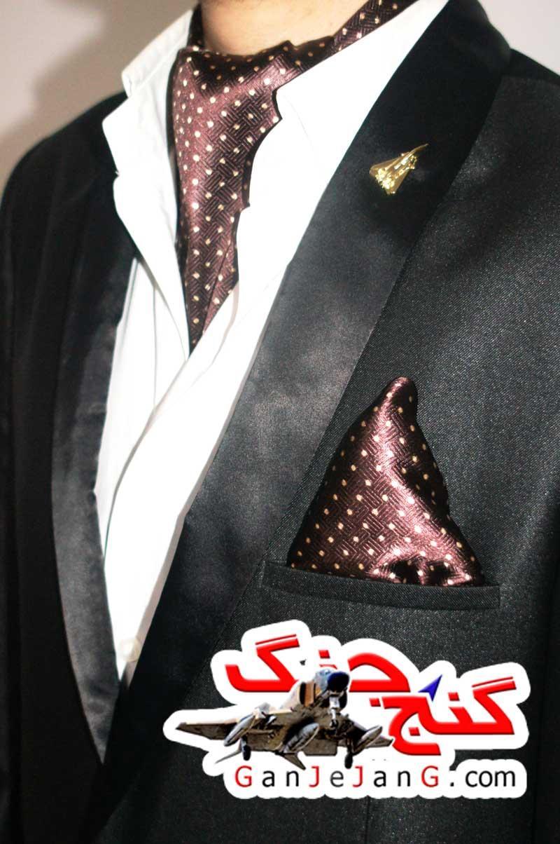 دستمال گردن خلبانی شکاری شماره چهار + دستمال جیب کت