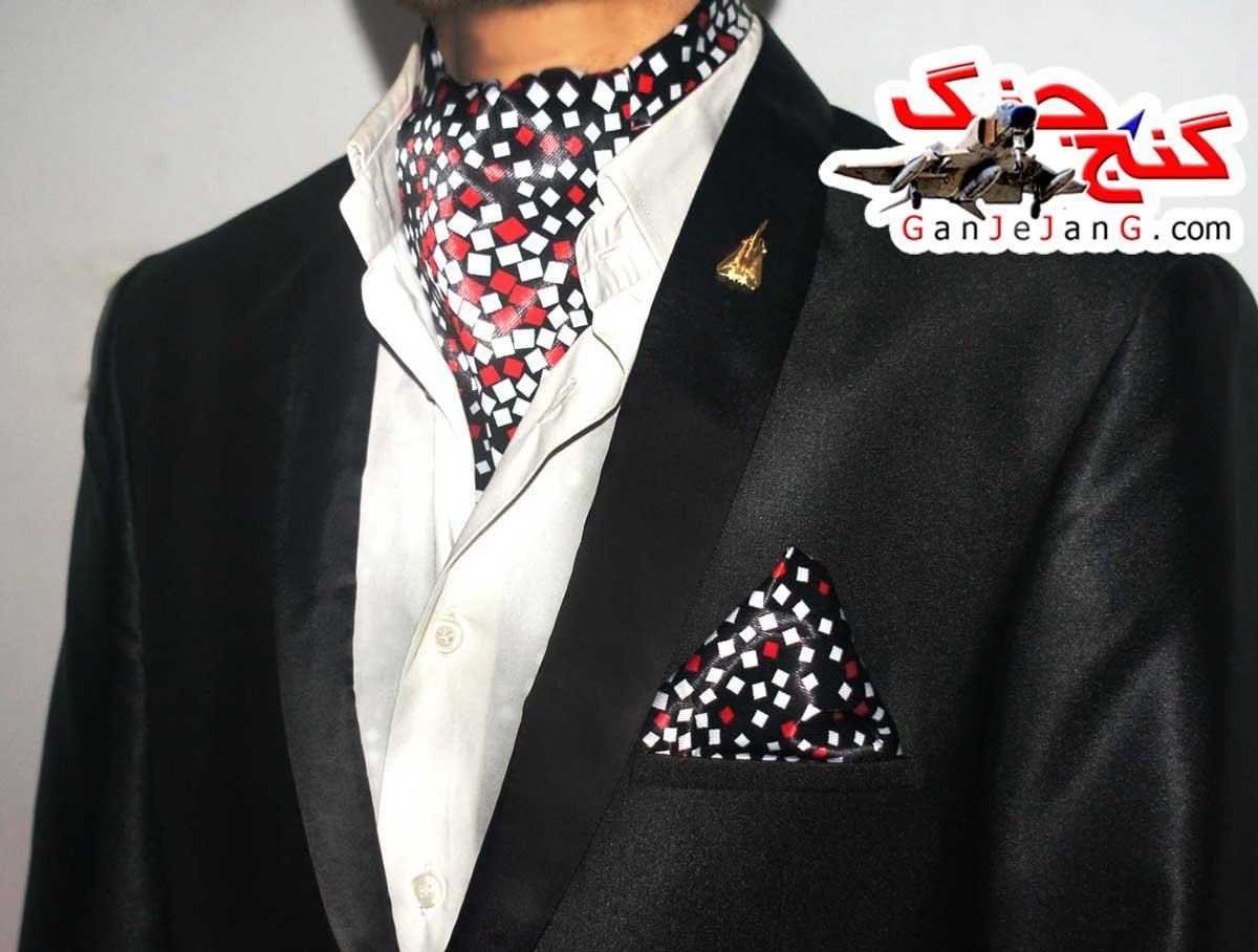 دستمال گردن خلبانی شکاری شماره سه + دستمال جیب کت