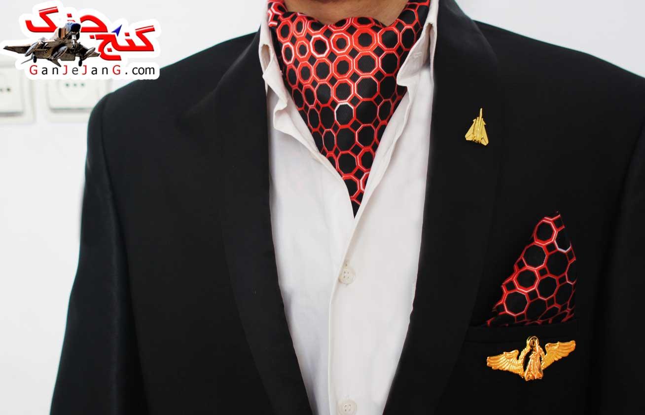دستمال گردن خلبانی شکاری شماره یازده + دستمال جیب کت