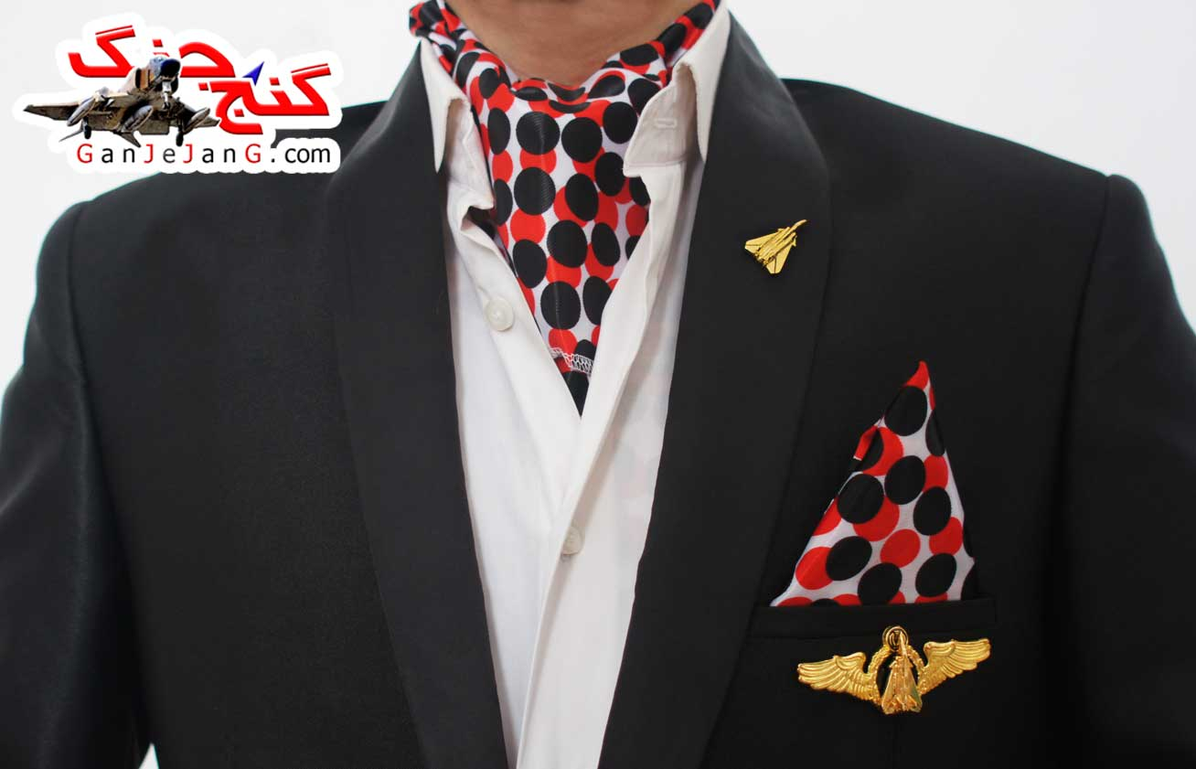 دستمال گردن خلبانی شکاری شماره هشت + دستمال جیب کت