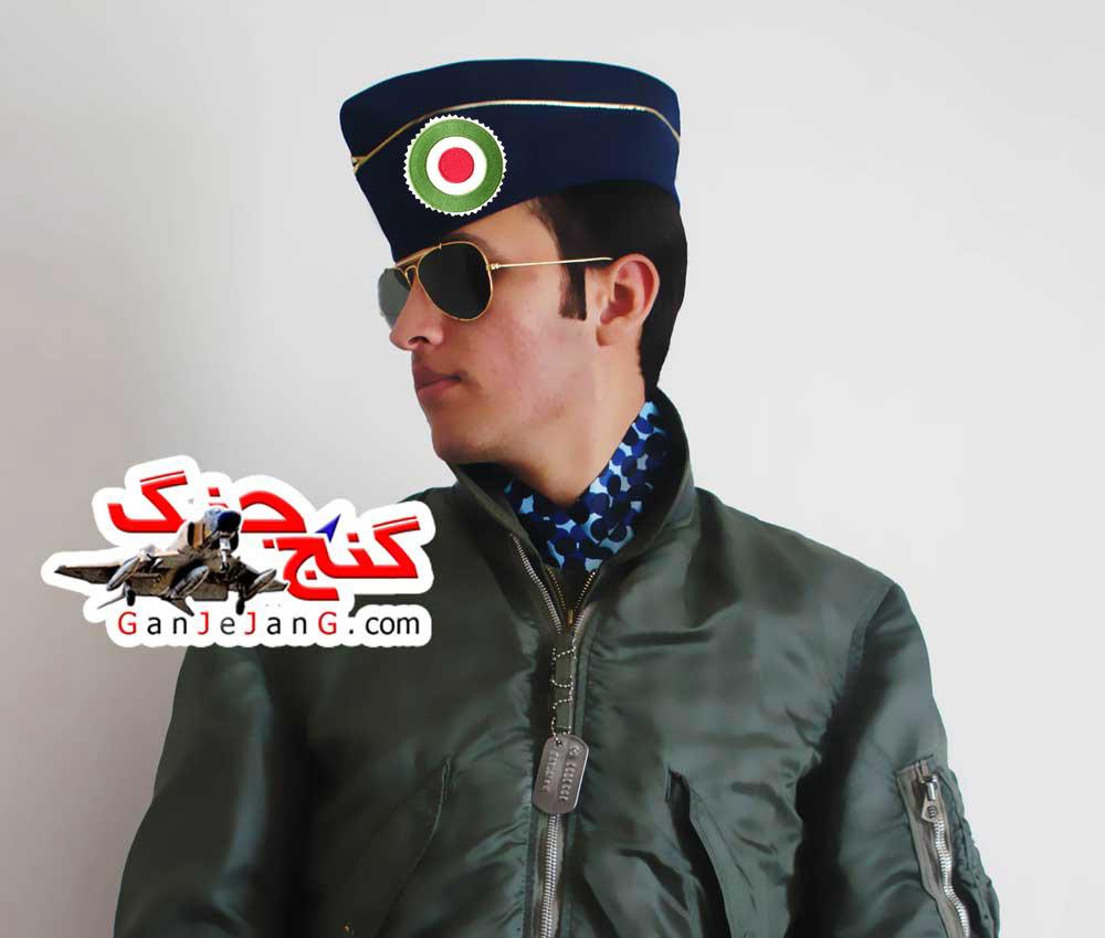 کلاه خلبانی شکاری زمان قدیم شماره 1 رنگ آبی + پرچم ایران طرح نظامی